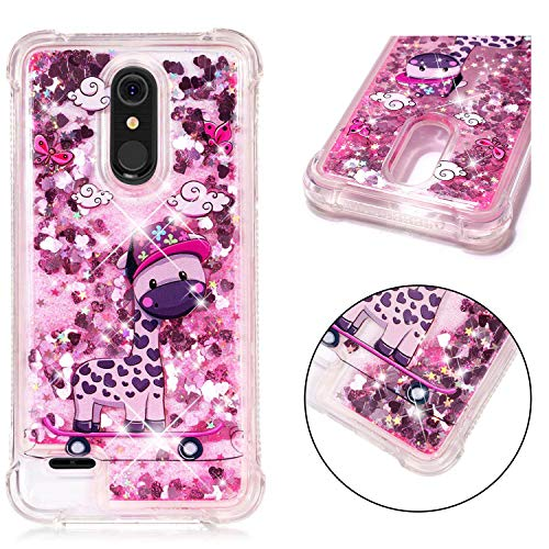 LG K10 2018 Case (MS425), LG K30 Case (X410), Dooge [Cartoon Pattern] Shockproof Anti-Scratch Glitter Liquid Sparkle Floating Bling Waterfall Fusion Protective TPU Bumper Case for LG K10 2018