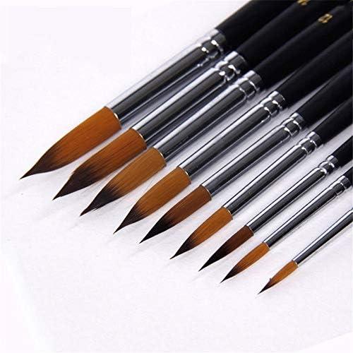 絵筆 9個/セットロングハンドルナイロンヘア水彩ブラシペンアーティストがセットペイントペイントブラシガッシュアクリルペイント 掃除が簡単で実用的 (色 : Black, Size : 9pcs)