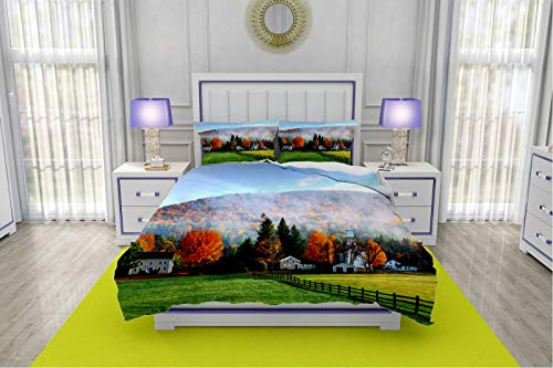 RLDSESS Bedding,3 Piece Quilt Coverlet Bedspread,Single-Sided Color Printed Quilt Coverlet-All Seasons,Style-Autumn Mist in The Village of Tyringham in The Berkshires-Queen