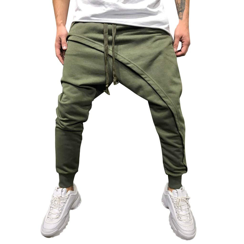 Alalaso Sweatpants for Men, Men Drop Crotch Funnel Pockets Drawstring Harem Pants Casual Drawstring Sweatpants Army Green