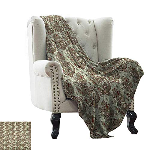 LsWOW Pattern Blanket Ethnic,Persian Middle Eastern Floral Pattern with Traditional Folk Boho Effects, Sepia Eggshell Maroon Extra Cozy, Machine Washable, Comfortable Home Decor ()