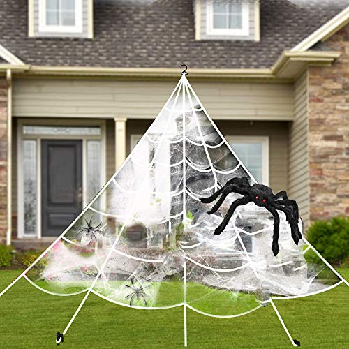 Halloween Spider Web Pics (Villsure Halloween Decorations, Giant Spider Web with Super Stretch Cobweb, Giant Spider and 27 Small Fake Spiders, Creepy Decor for Outdoors and Indoors,)