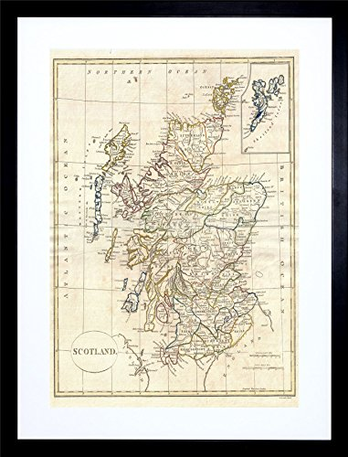 9x7 '' 1799 CLEMENT CRUTTWELL MAP SCOTLAND VINTAGE FRAMED ART PRINT F97X002 (Vintage Scotland Print)