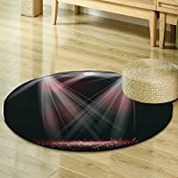 Non Slip Kids Carpet Round Area Rugs Mat,Bedroom Carpet Circular Carpet Machine Washable Rugs Mat,Round Mats&Home Carpet For Room decoration-Multi- Round 35.4(Spotlights on stage with smoke & ligh)