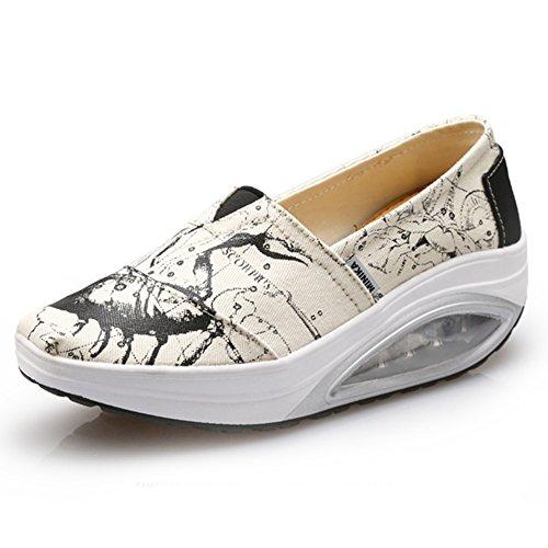 Scarpe Da Ginnastica Moda Donna Sneakers Ammortizzate Antiscivolo Scarpe Sportive Da Viaggio Di Btrada Bianco