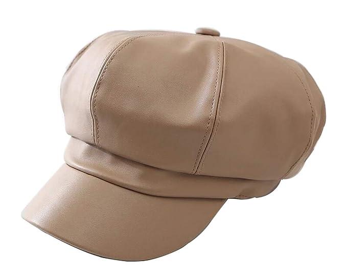 4d9175f6c56972 FENGFA Winter Damen Newsboy Cap Schirmmütze Mode PU Leder Barett Maler  Mütze mit Visor (Beige