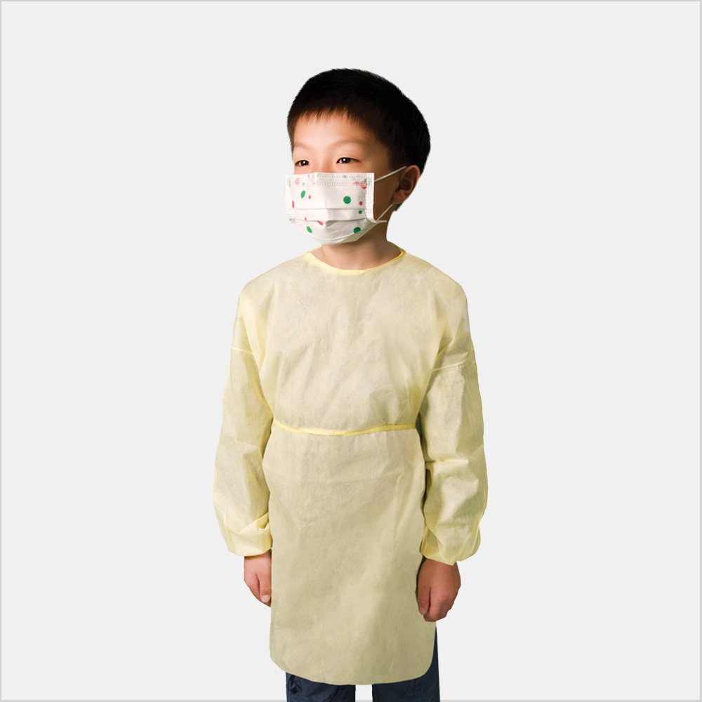 Tronex SMS100Y - Pediatric Isolation Gown with Neck Ties, Fluid Resistant, Elastic Cuffs, Yellow (100, Small) by TRONEX (Image #1)