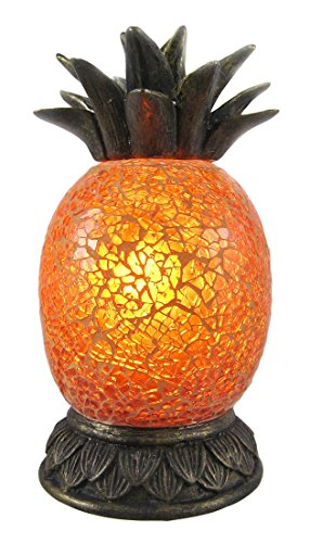Crackle Glass Accent Lamp (Amber Crackle Glass Pineapple Accent Lamp Bronzed)