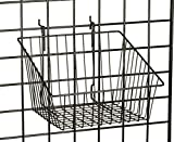 Fixture Displays Set of 312'' x 12'' Metal Gridwall Slatwall Basket w/ Hooks - Black