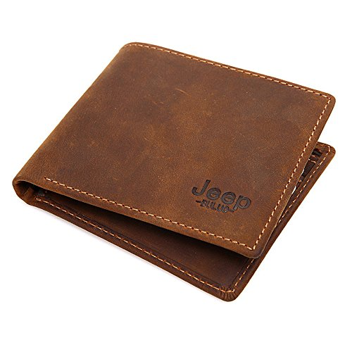 JEEP BULUO Man's Genuine Leather Wallet RFID
