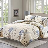 yellow and light blue - Duvet Cover Set with Zipper Closure and Corner Ties,3 Piece (1 Duvet Cover + 2 Pillow Shams),Full/Queen (90