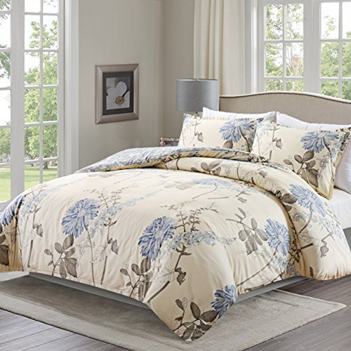Duvet Cover Set with Zipper Closure and Corner Ties,3 Piece (1 Duvet Cover + 2 Pillow Shams),Full/Queen (90