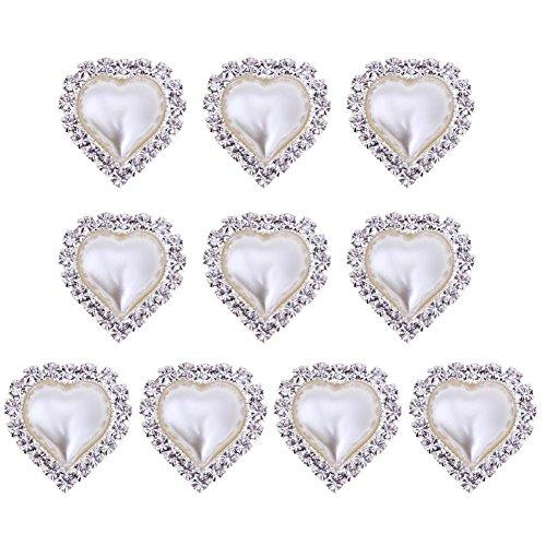 Rhinestone Buttons DIY Craft, WinnerEco 10pcs DIY Rhinestone Brooch Heart Shaped Pearl Brooch Women Jewelry(Beige)