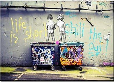 Banksy Life is short kids Art Reprint on FRamed  4 panels Canvas Wall Art Decor