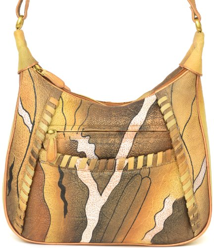 Zimbelmann Nadine Damen Umhängetasche aus echtem Nappa-Leder - handbemalt