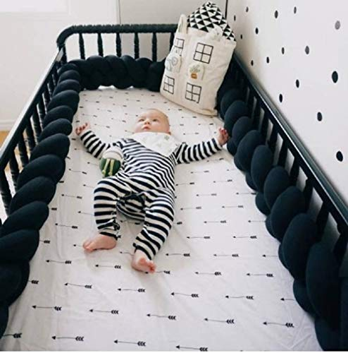 Soft Pads Braided Infant Crib Bumper Knot,Pillow Cushion Cradle Decor for Girls and Boy(118 Inch/3M, Black)