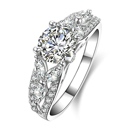 gement Rings Women Promise Rings Customizable Round CZ Leaf Shape Size 9.5 (Four Paws Toothpaste)