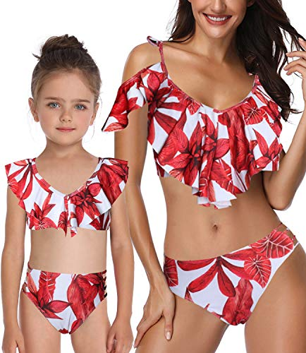 Mommy and Me Swimsuits High Waisted Tankini Set Women Girl 2 Pcs Family Matching Swimwear Best Gift for Birthday Day (E Red Maple Two Piece, Mom US 4-6(Tag S))