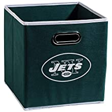 "Franklin Sports NFL New York Jets Fabric Storage Cubes - Made To Fit Storage Bin Organizers (11x10.5x10.5""), Green, One Size"