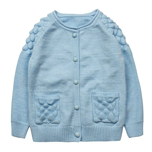 Baby Girls' Cashmere Cardigan Puff Sleeve Button Down Sweater Blue Size 2T