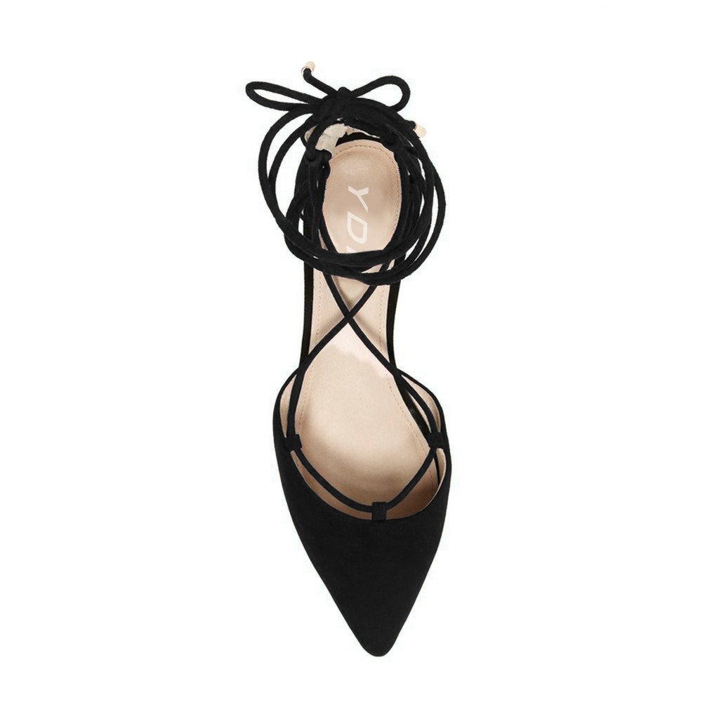 YDN Women Lace Up Flats Pointy Shoes Back Zipper Casual Dress Cutout