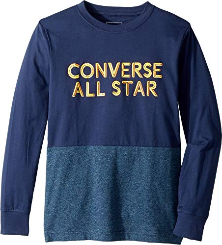Converse Kids Boy's Long Sleeve Static Heather Silicone Tee (Big Kids) Midnight Navy Large]()