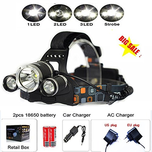 Rayma Rayma 18650 Lanterns Set 8000 Lumens 3x XML T6 LED Headlight Package Include Linternas Frontales Cabeza Headlamp+ac/car Charger+2x18650 Rechargeable Battery
