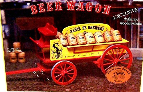 Western Beer Wagon Pre-cut Wooden Model 1977 Vtg Santa Fe Brewery w/ Box Allwood