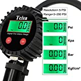 Digital Tire Pressure Gauge - 200 PSI Tcisa Car Tire Inflator Gun, Tire Deflator, with Straight Lock-On Air Chuck, 90 Degree Valve Extender, Air Hose, for Truck, Automobile, Motorcycle