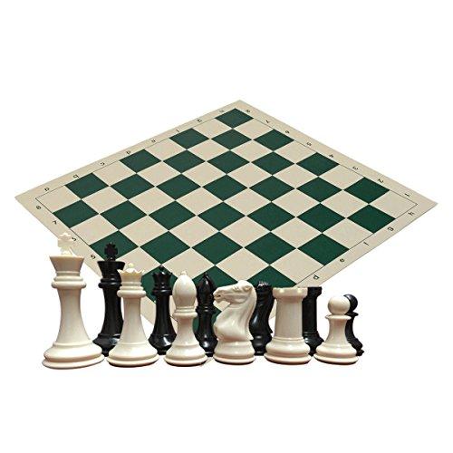 Cuádruple Heavy Weight Set de ajedrez para escuelas, Clubes y torneos–34Marfil/Negro Piezas (2Extra Queens),...