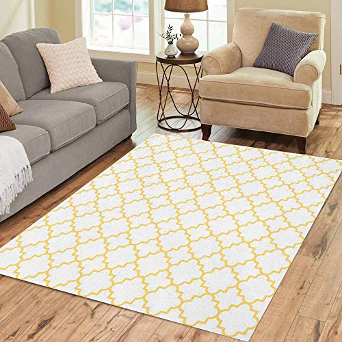 Pinbeam Area Rug Blue Morrocan Traditional Quatrefoil Lattice Pattern Yellow Modern Home Decor Floor Rug 5' x 7' Carpet ()