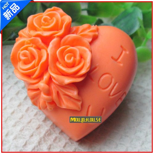 Pinkie Tm heart shaped rose flower I love you silicone soap mold form for soap Clay mold Salt carving mould wholesale