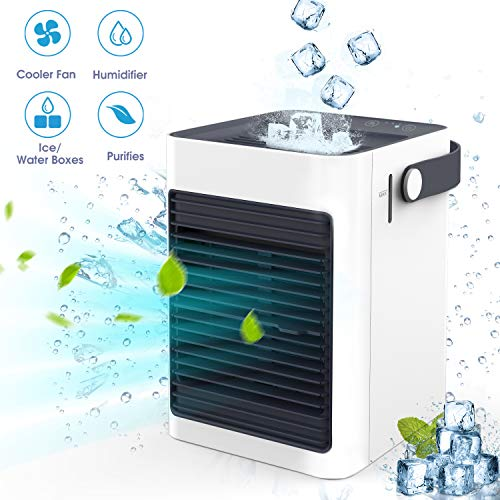 Air Ice Cooler, Air Mini Humidifier & Purifier, Portable Air Evaporative Cooler, Air Conditioner Fan Noiseless, USB Personal Space Air Cooler Quiet for Home, Bedroom Office, Desktop, RV, Outdoors ()
