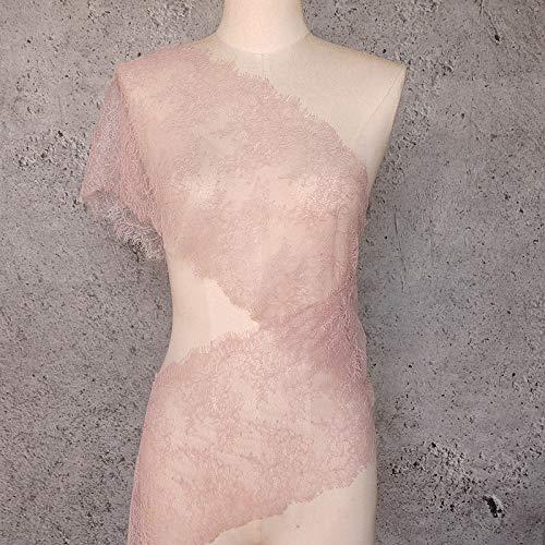 ALE14 Lace Fabric Eyelash Chantilly Floral Bridal/Wedding Dress Flower Table Cloth DIY Crafts Scallop Trim Applique Curtain 300cm x 23cm (Baby Pink) (Trim Lace Chantilly)