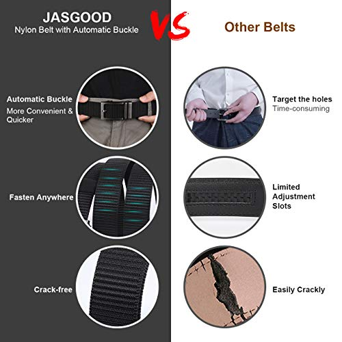 JASGOOD Nylon Belts with Automatic Buckle,Ratchet Belt with Metal Buckle-No Holes Full Adjustable Web Belt for Men Jeans Pants