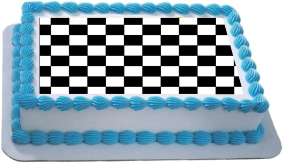 Tremendous Black White Checker Board A4 Edible Icing Cake Topper Birthday Funny Birthday Cards Online Overcheapnameinfo