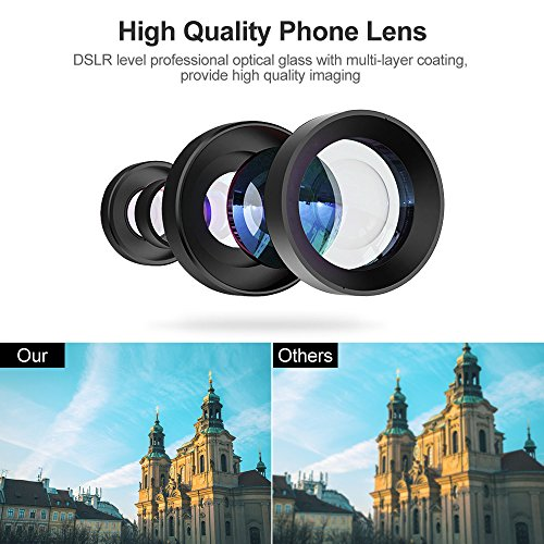 Phone Camera Lens, 4 in 1 iPhone Telephoto Lens, 14X Telephoto Lens + 180° Fisheye Lens + 15X Macro Lens + 0.65X Wide Angle Lens + Tripod & Phone Holder for iPhone x 8 7 6 plus, Samsung and Smartphone by UMTELE (Image #1)