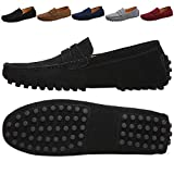 JIONS Men's Driving Penny Loafers Suede Driver Moccasins Slip On Flats Casual Dress Boat Shoes