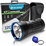 Olight X7R Marauder 12000 Lumen LED Rechargeable Super Bright Cool White Flashlight, USB-C Charging cable, Holster & Lumen Tactical LED Keychain Flashlight
