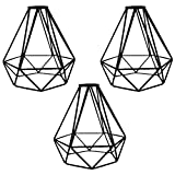 MKLOT Lighting Metal Lamp Guard for Pendant String Lights Vintage Lamp Holders Industrial Chandelier Ceiling Fixture Lamp Shade Iron Wire Diamonds Shape, 3 Pack/Lot
