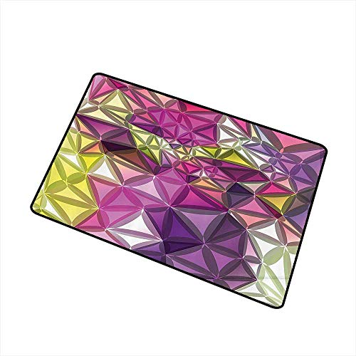 (Jbgzzm Non-Slip Door mat Diamond Decor Abstract Ornate Gradient Different Size Diamond Motifs Futuristic Effects Print W35 xL47 Quick and Easy to Clean Purple and Yellow)