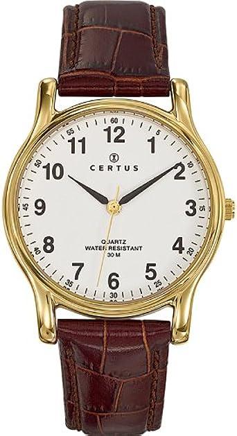 Certus 611231 - Reloj analógico de Cuarzo para Hombre con Correa de Piel, Color marrón