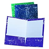 Oxford Marble Design Laminated Two-Pocket Portfolios, Assorted Colors, 25/Box (50190EE)