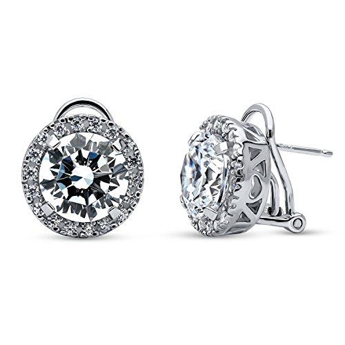 BERRICLE Rhodium Plated Sterling Silver Round Cubic Zirconia CZ Statement Halo Omega Back Anniversary Wedding Stud Earrings ()