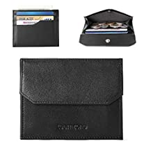 Teemzone RFID Minimalist Wallet for Men Credit Card Holder Small Coin Wallet (Black)