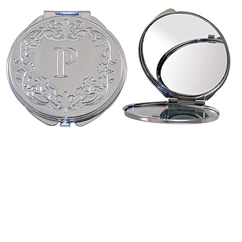 Polished Metal Compact Purse Mirror with Dual View, Monogram Initial P and Floral Print.