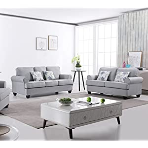 US Pride Furniture S5341-2PC Audrey 2-Piece Fabric Sofa Set, Light Grey