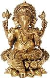 Lord Ganesha seated on Lotus - Brass Statue