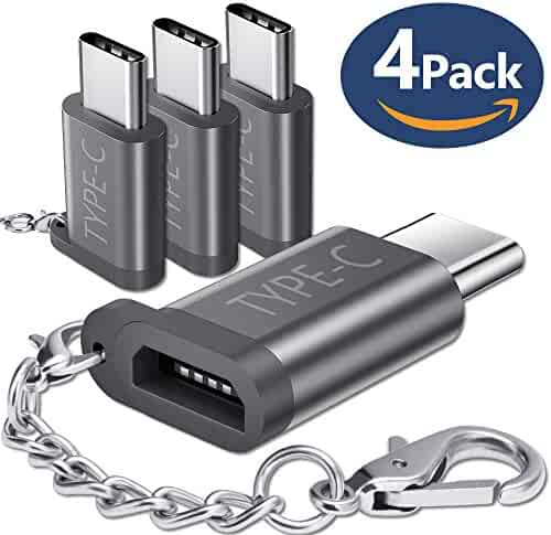JSAUX USB Type C Adapter,4-Pack Aluminum USB C to Micro USB Convert Connector with Keychain Charger for Samsung Galaxy S9 S8 Plus Note 8,Pixel 2 XL,LG V20 G5 G6,Moto Z Z2,Nintendo Switch,More(Grey)