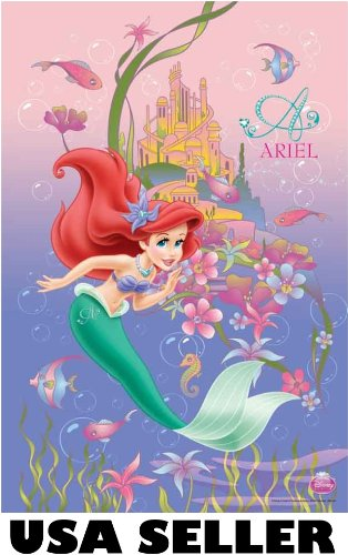 Little Mermaid Ariel Poster pink-purple bkgrnd Disney princess sent From USA in PVC pipe